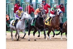 Horses break from the gate at Oaklawn Park