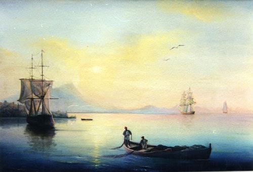 Baía, pintada pelo aluno Filipp Rissukhin. Obras são exibidas em exposições regulares e até adornam catedrais ortodoxas na Europa.