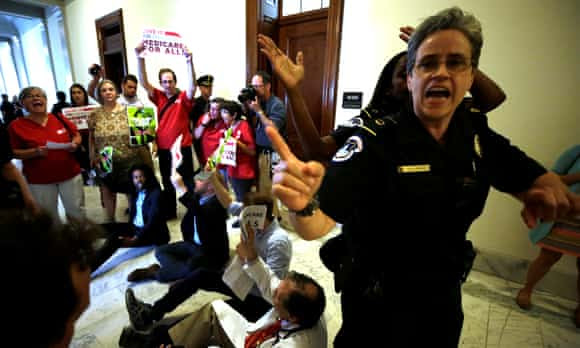 Healthcare protesters outside Senate offices