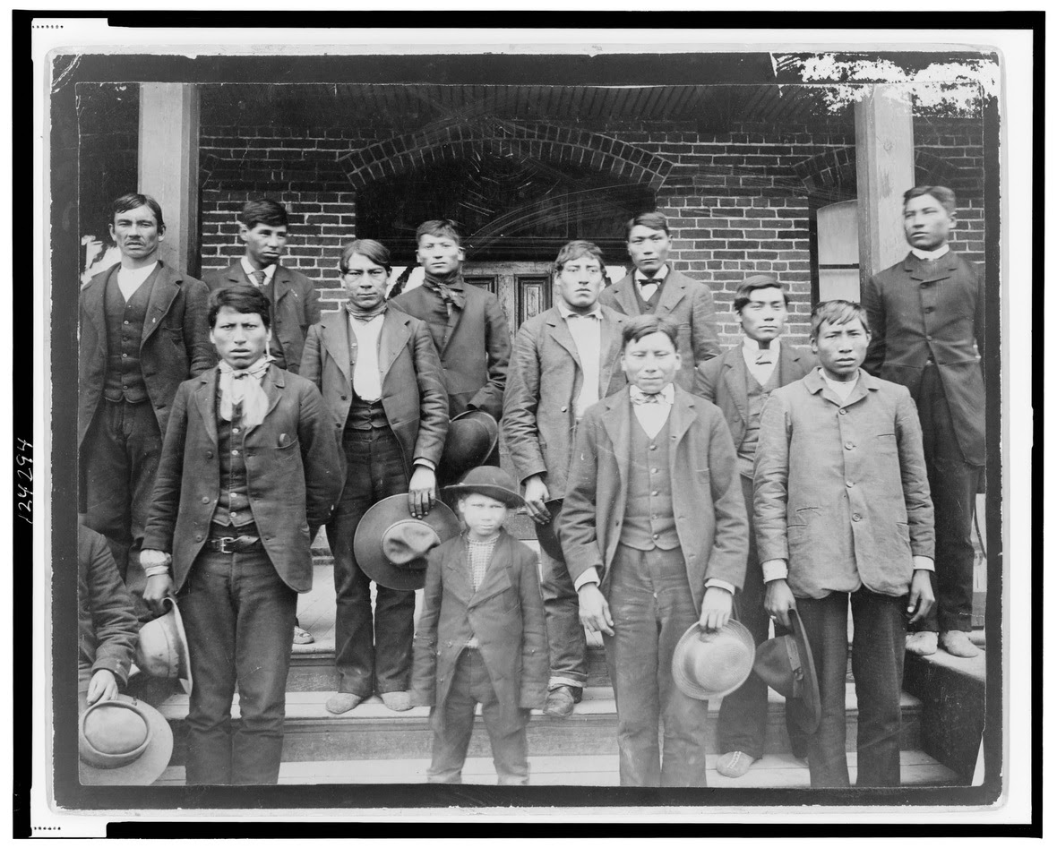 TheRedRoadProject Native Boys pose outside of Carlisle Indian School 1890