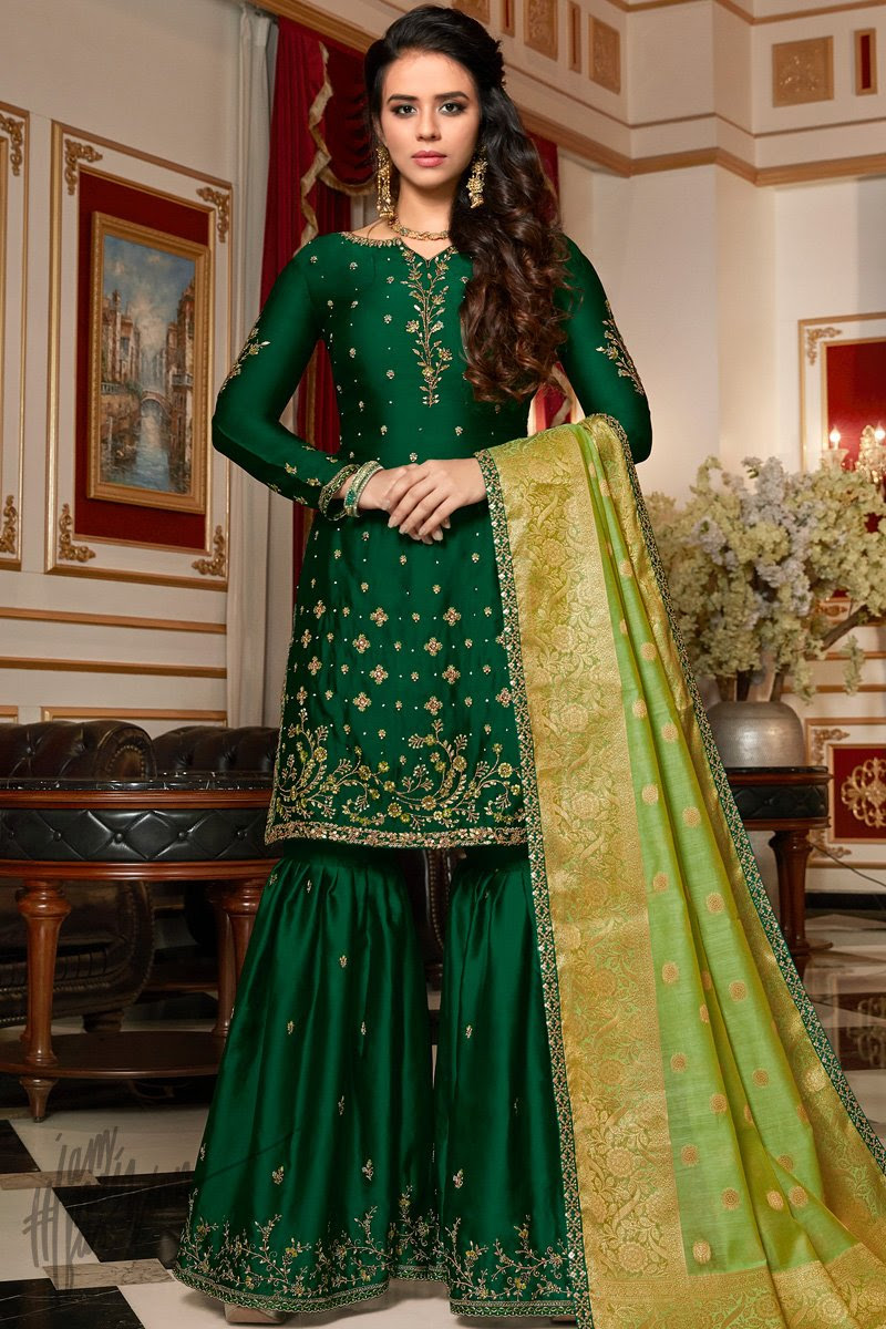 Forest and Parrot Green Satin Georgette Sharara Suit