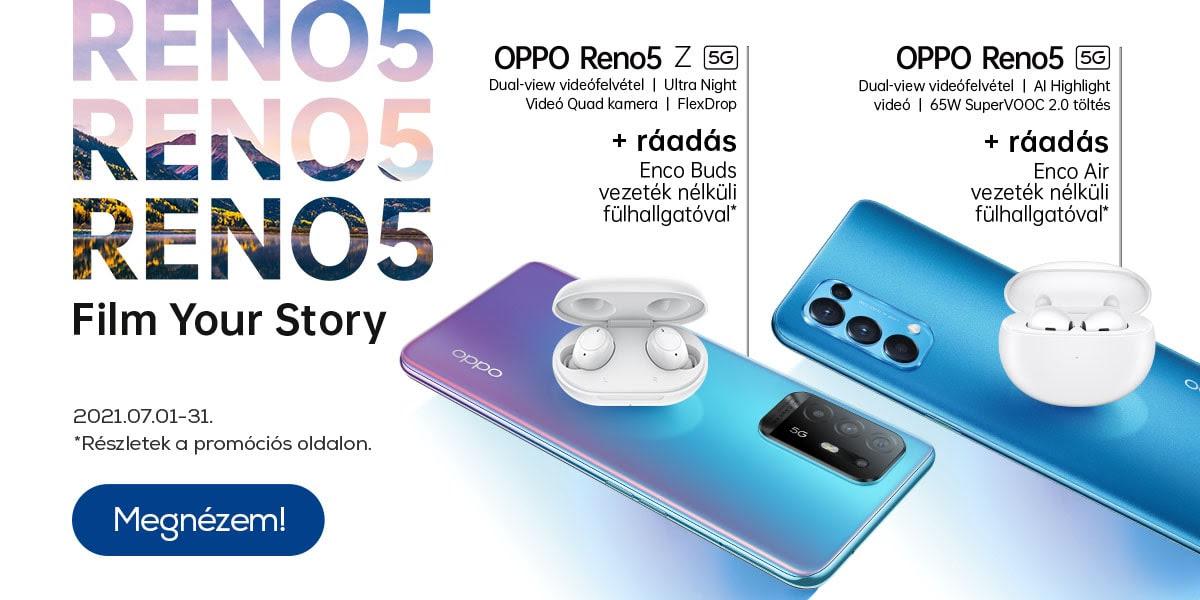 Oppo Reno5 okostelefon ráadás fülhallgatóval