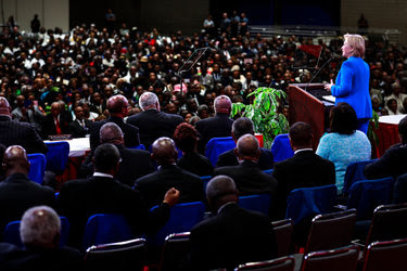 Hillary Clinton addressed the 136th annual session of the National Baptist Convention in Kansas City, Mo., on Thursday.