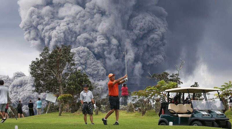 Kilauea volcano eruption golf