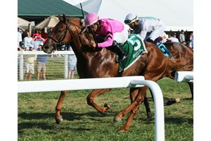 Red Danger wins the Juvenile Sprint Stakes at Kentucky Downs