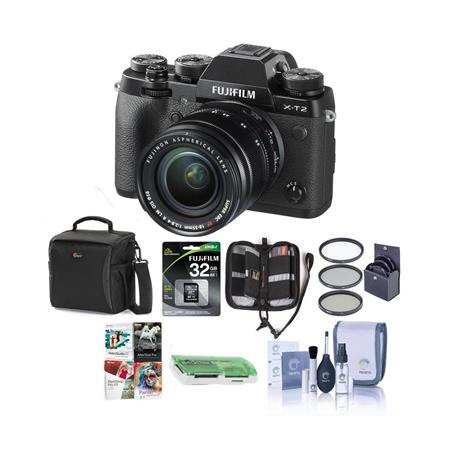 X-T2 Mirrorless Digital Camera with 18-55mm Lens - Bundle With Camera Case, 32GB SDHC U3 C