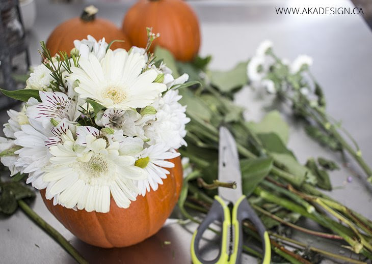 Trim and arrange flowers