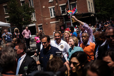 Hillary Clinton appeared on Sunday at the pride parade in Manhattan in an unannounced appearance.