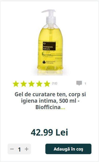 Gel de curatare ten, corp si igiena intima, 500 ml - Biofficina.