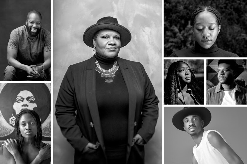 A black and white photo grid shows an array of Black theater workers