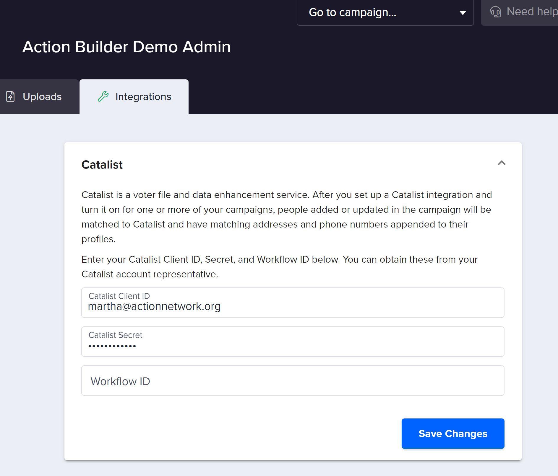 Screenshot of Catalist integration screen in Action Builder.