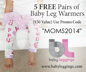 5 FREE Pairs of Baby Leg Warmers ($50 Value) Use Promo Code: MOMS2014 - www.babyleggings.com
