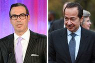 From left, Tom Barrack, Steve Mnuchin and John Paulson