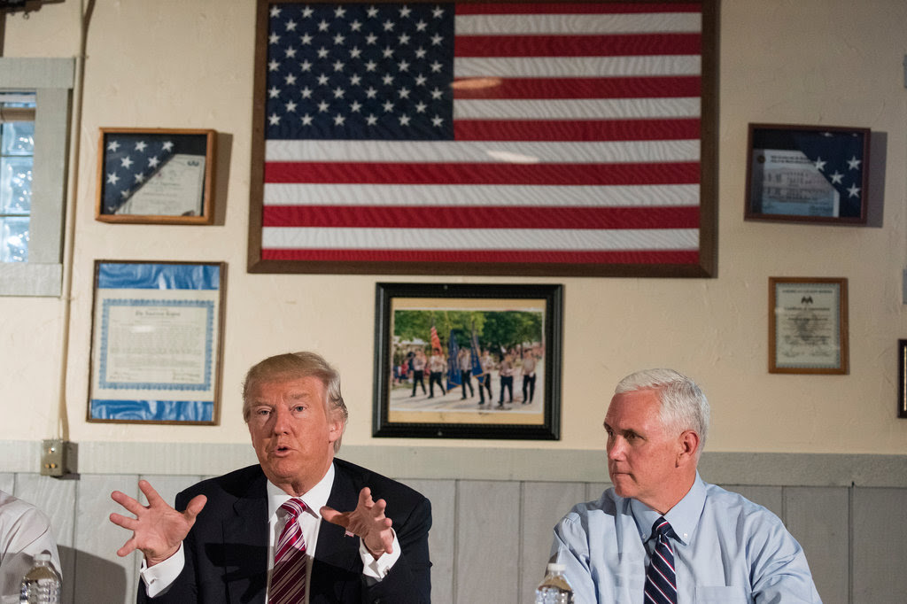 Donald Trump and Gov. Mike Pence made a campaign stop in Ohio on Monday.