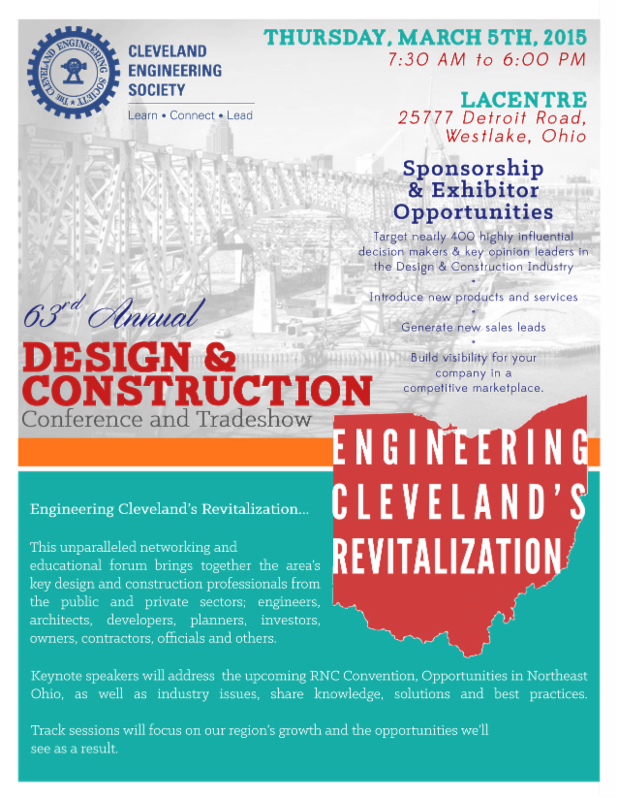 Cleveland Engineering Society 63rd Annual Design & Construction Conference & Tradeshow: Engineering Cleveland's Revitalization @ LaCentre Conference Center | Westlake | Ohio | United States