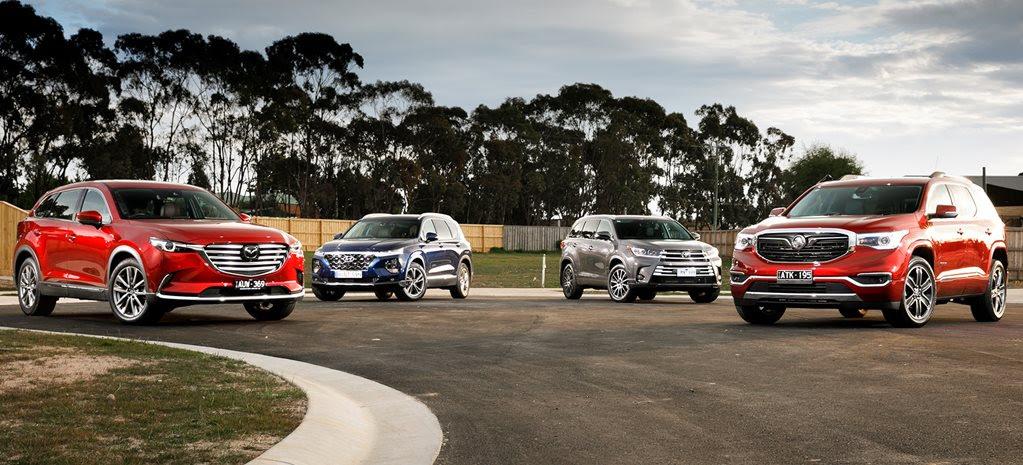 Holden Acadia vs Mazda CX-9 vs Hyundai Santa Fe vs Toyota Kluger comparison review