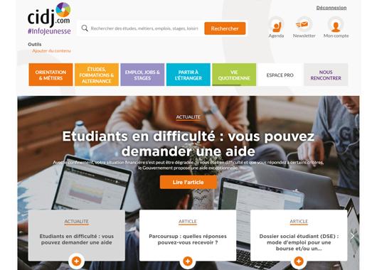 Page d'accueil cidj.com