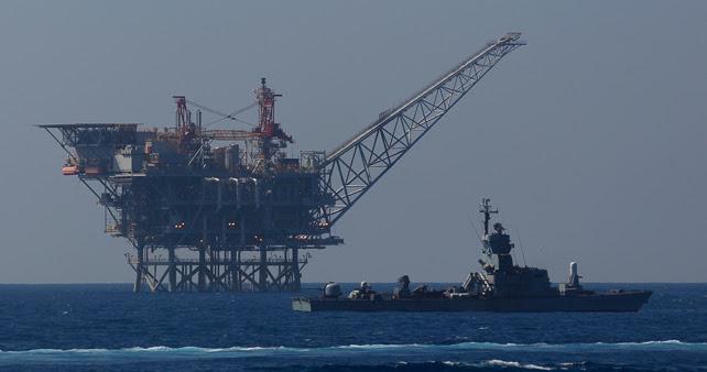 Una plataforma gasística israelí e el Mediterráneo.