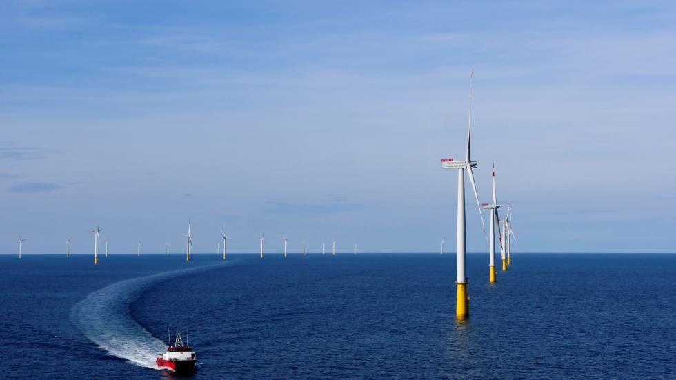 Parque eólico marino en las costas de Esbjerg, Dinamarca.