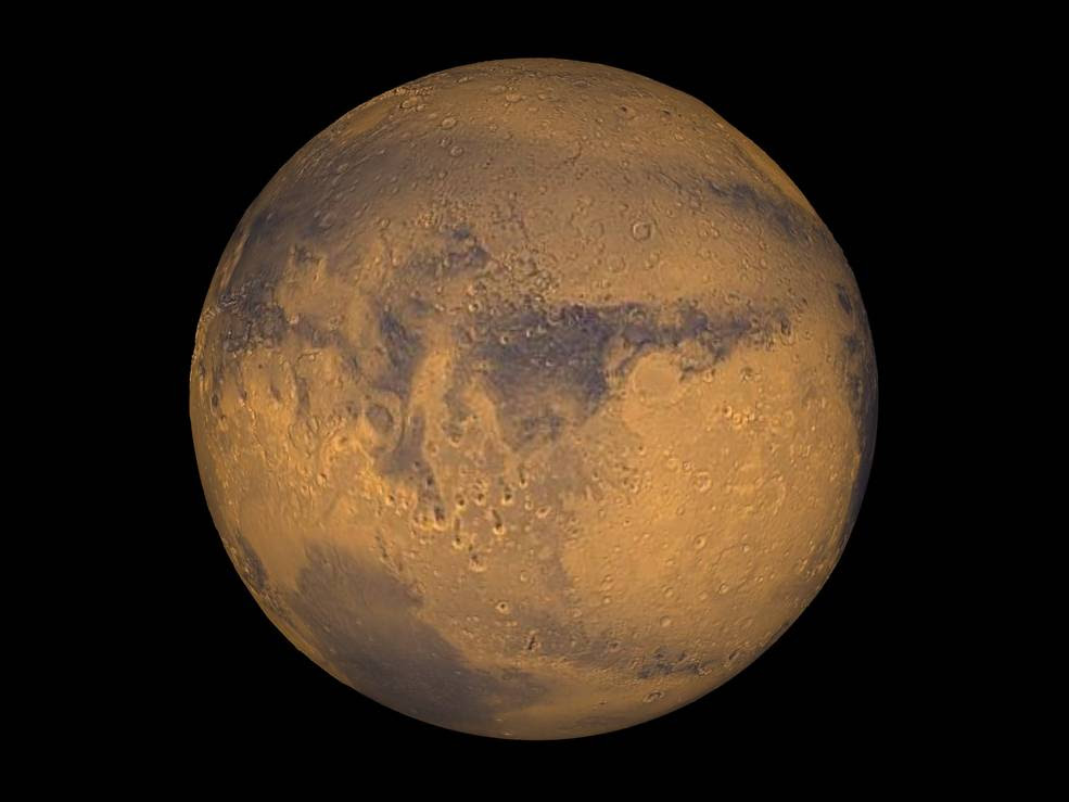 Mars true color globe showing Terra Meridiani