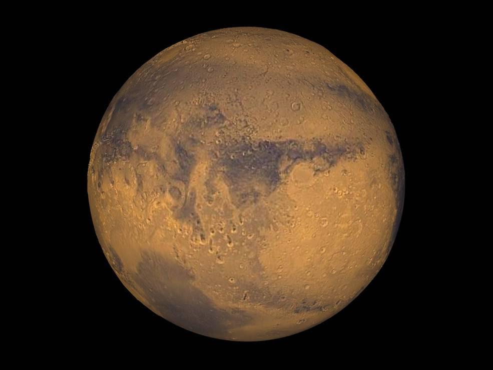 Mars true color globe showing Terra Meridiani