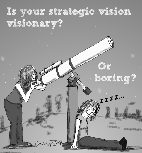 Cartoon: woman looking through telescope