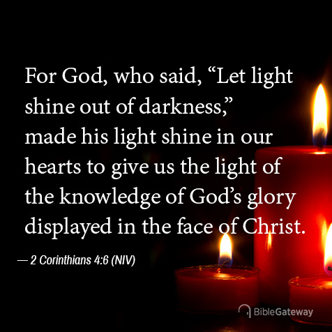 Read 2 Corinthians 4:6 on Bible Gateway.