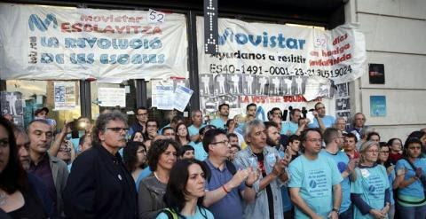 Apoyo a los trabajadores de Telefónica encerrados en el MWC de Barcelona