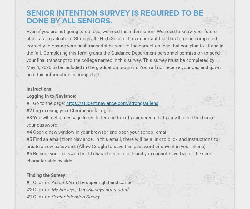 SENIOR INTENTION SURVEY IS REQUIRED TO BE DONE BY ALL SENIORS. Even if you are not going to...