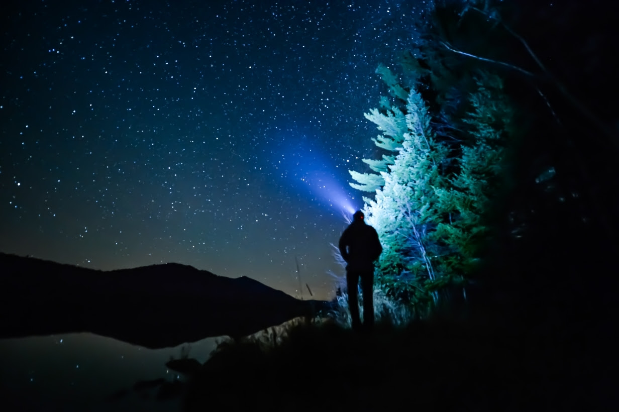 Hiker at night with headlamp