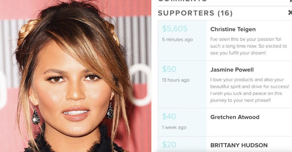 Chrissy Teigen pays fan's tuition for beauty school and brings Twitter to tears.
