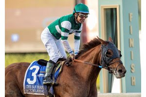 Accelerate wins the San Pasqual Stakes Feb. 3 at Santa Anita