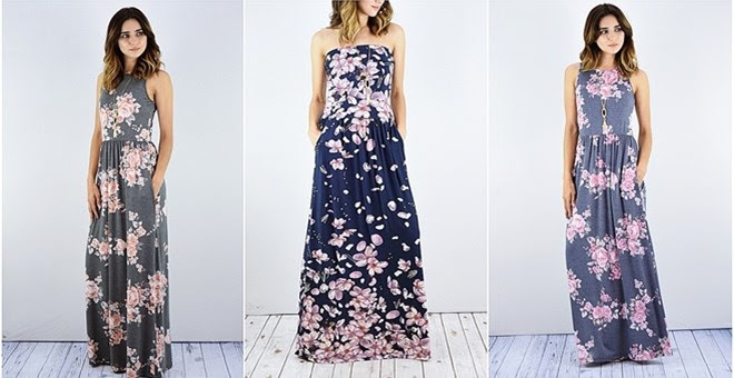 HOT!! Floral Maxi Dress with S...