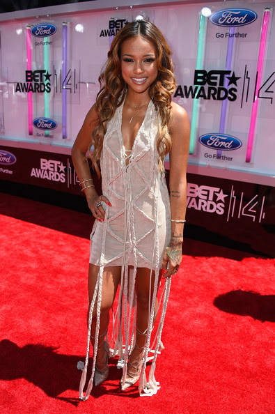 Model Karrueche Tran attends the BET AWARDS '14 at Nokia Theatre L.A. LIVE on June 29, 2014 in Los Angeles, California.