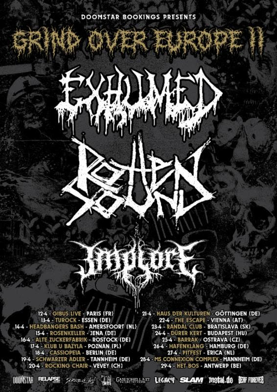 """EXHUMED Announces Grind Over Europe II Headlining Dates; 70000 Tons Of Metal Cruise Looms + Band Shares """"Unspeakable"""" Live Video"""