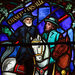A detail of the windows depicting the Confederate generals Robert E. Lee and Stonewall Jackson that are being removed.