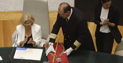 Manuela Carmena, cabeza de lista de Ahora Madrid al Ayuntamiento de la capital de España, ha sido proclamada nueva alcaldesa de la ciudad . EFE/Alberto Martín
