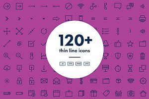 120+ Thin Line Icons