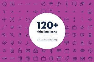 120+ Thin Line Icons