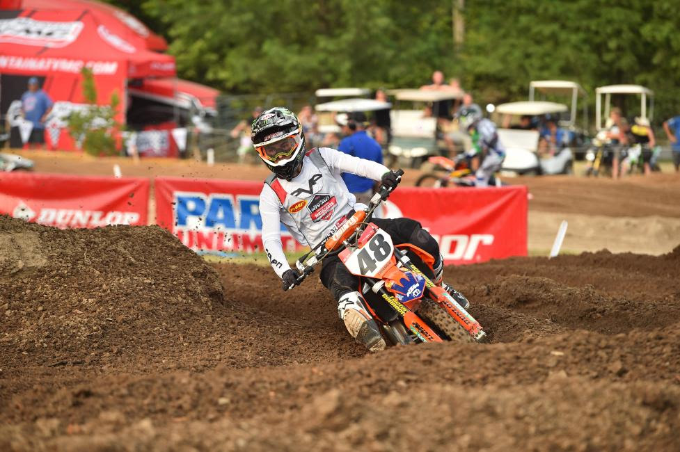 Nate Thrasher won the last moto of the day, Supermini 2 (13-16), after tripling into the back section of the track called