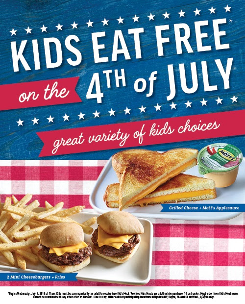 Free App Or Dessert At Olive Garden W Purchase Of 2: Applebee's: Kids Eat Free On July 4th