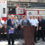 Senator Chuck Schumer, Mayor Noam Bramson, Fire Chief Lou DiMeglio, and UFFA President Pete Miley.