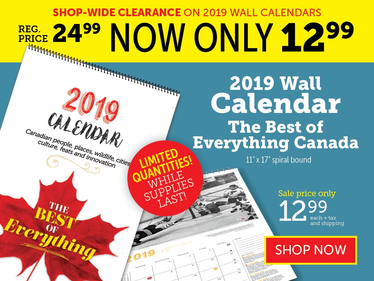 50% OFF 2019 Wall Calendars!