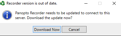 Image: Panopto for Windows Update Dialog