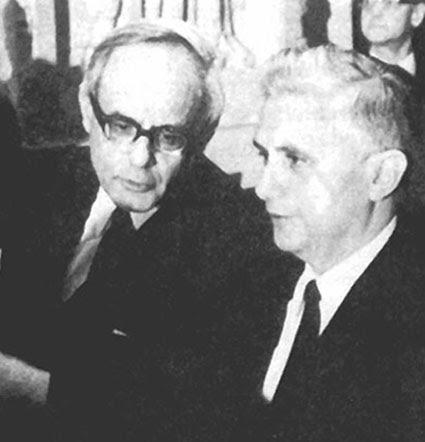 Karl Rahner (à gauche) avec le P. Joseph Ratzinger (à droite) à Vatican II