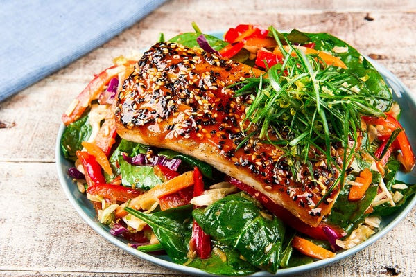 Korean Sesame and Chile Roasted Mahi-Mahi with Spinach Salad