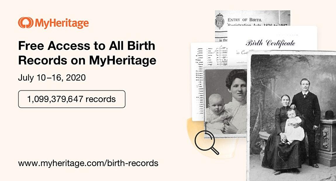 Free Access to All Birth Records on MyHeritage
