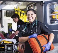 EMT with ambulance