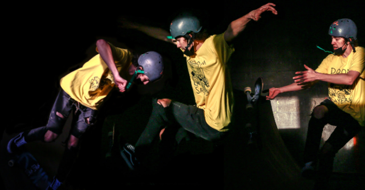Composit image shows skateboarder in three different positions