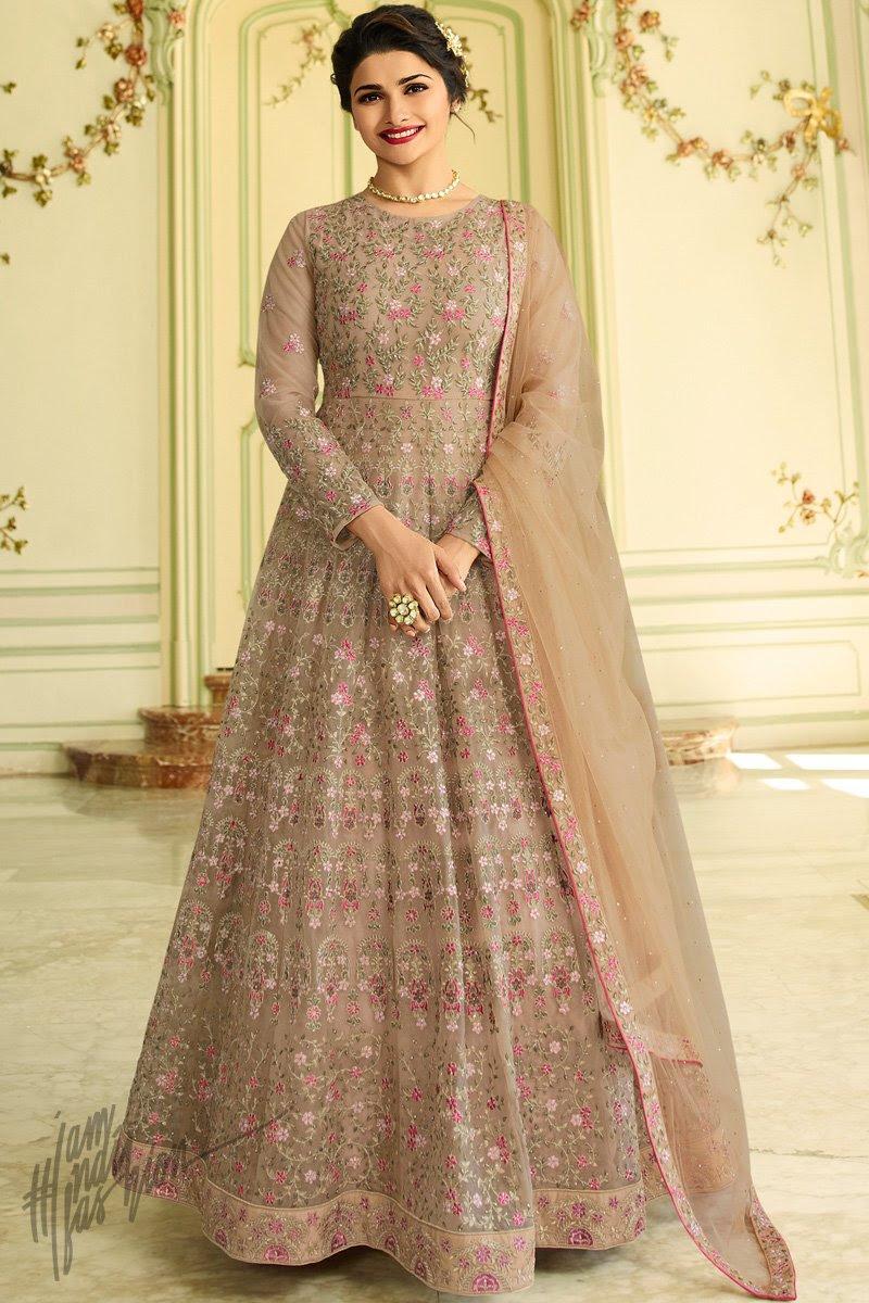 Light Mauve Net Ankle Length Anarkali Suit